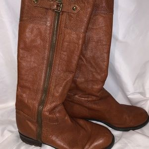 FRANCO SARTO Tall Brown Distressed Leather Boots